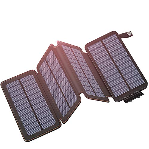 Hiluckey Solar Powerbank 25000mAh Wasserdicht Power Bank mit Dual 2.1A Output Tragbares Solar Ladegerätfür für iPhone, Samsung Galaxy, iPad und Smartphones