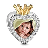 Soufeel Kristall Krone Charm Personalize Your Foto Charm Bead mit Kristall 925 Sterling Silber 18K Vergoldet