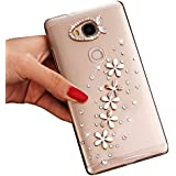 Sunroyal® Transparente con Bling Diamante para Huawei Ascend G8/Huawei Ascend G7 Plus Funda Protector Bumper Slim PC Case Cover Bling Diamond Caja Protectora Ultra Delgado Crystal Clear Cubierta Caso Parachoques Carcasa