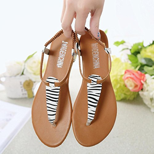 Bescita Frauen Mode Sandale Sommer Wohnung Flip Flops Sandalen Böhmen Schuhe Weiß