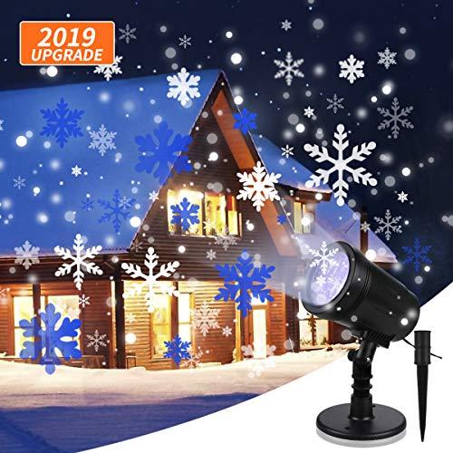 Luces de Proyector de Navidad YUE GANG Impermeable IP65 Copo Giratorio de Nieve Proyector LED para Navidad, Fiesta de Cumpleaños, Boda