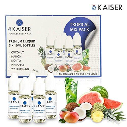 Ekaiser 5 X 10ml E-Flüssigkeit Tropisch Pack   Kokosnuss   Ananas   Mojito   Mango   Wassermelone   Spezielle neue Formel für Dampf entwicklung und Geschmack treffer mit nur hochwertige Zutaten   Hergestellt für E-Zigaretten E-Shisha