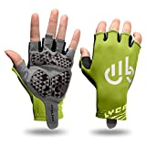 LYCAON Guantes de Ciclismo Medio Gel de Dedo Padded Nonslip Breathable Riding Biking Guantes Plegable BMX Road Bike Cruiser Bicicleta de Montaña MTB (Verde, XL)
