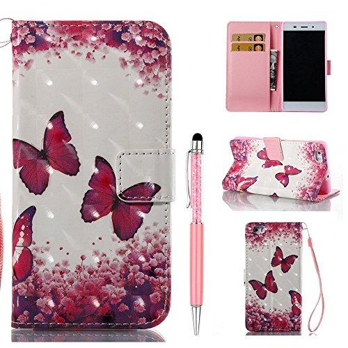 ZCRO Handytasche für Huawei P8 Lite 2015/2016, Leder Schutzhülle Brieftasche Hülle Flip Case 3D Muster Cover mit Kartenfach Magnet Tasche Handyhüllen für Huawei P8 Lite 2015/2016(Schmetterling Blume)
