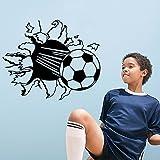 Wandaufkleber 3D Fußball Zertrümmert Wandstickers Wand Kreative Kunst Aufkleber Dekorative Abnehmbare DIY Vinyl Schwarz Wandtattoo Machen Sport Themen Wall Stickers für Wohnzimmer, Schlafzimmer, Kinderzimmer Junge