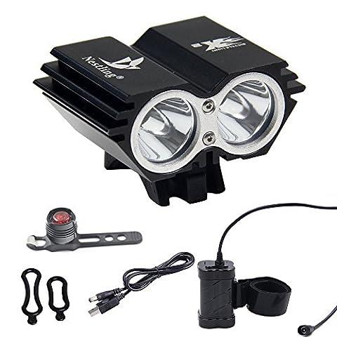 Ammy® Nestling logo 5000 Lumens U2 XML CREE 2 LED Vélo Bicyclette Light Lampe frontale avec 8.4V, 8000MAH, 4x18650 Battery Pack et Lumière arrière (Noir)