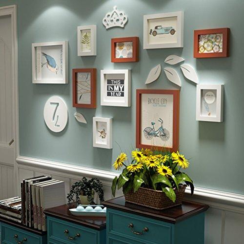 &Dekorative Wände Wohnzimmer Massivholz Bilderrahmen Wand, Kreative Portfolio Foto Wand Sets Von 11 Sofa Hintergrund DIY Frames Sets Modischer Entwurf ( Farbe : B , größe : 11frames/127*73 )