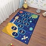 Teppich_Kinder Teppich Kinder lernen Teppich mit ABC, Zahlen und Formen, Fisch,Bildungsbereich Teppich Teppich Für Schlafzimmer und Spielzimmer-oval-blau-Polyester kleine große Größen (160 × 230cm)