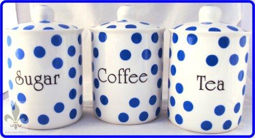 Bleu Pois thé/café/sucre en porcelaine Fine furnishing décoré à la main en forme de U. K.-gratuite