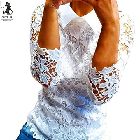 Chemise Femme, LMMVP Dentelle O-Cou à Manches Longues Lady T-Shirt Tops Blouse Casualà (l, Blanc)