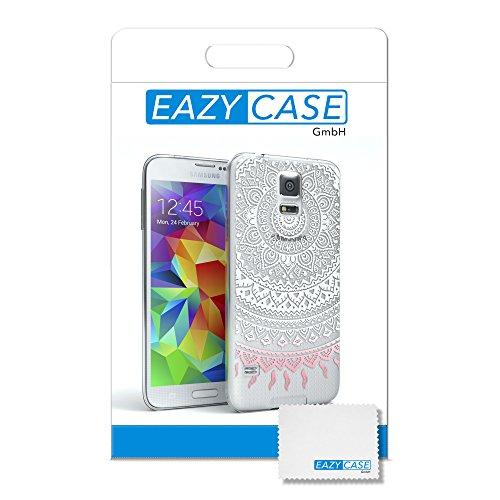 Samsung Galaxy S5 / S5 Neo Hülle - EAZY CASE Handyhülle - Ultra Slim Glitzer Schutzhülle aus Silikon in Pink Henna Weiß / Rosa