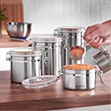 VonShef Set of 4 Stainless Steel Storage Jars Canister Set with Airtight Lids - Tea, Coffee, Sugar, Pasta, Rice, Biscuits, Oats