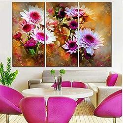 CNCN PinturaModulardecoración para el hogar púrpura Margaritas Flores lienzos Impresiones Arte Moderno de la Pared Cuadros para la Sala de Estar Ilustraciones 20x35cm 20x45cm20x55cm