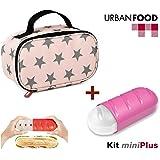 TATAY Urban Food MiniPlus Stars - Bolsa Térmica Porta Alimentos con Táper Hermético Ovalado y Portabokata Extensible Incluido, Medidas 21.5 x 9 x 12 cm