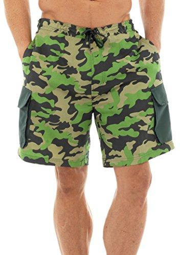 Mens Camo Print Cargo Shorts Swim Shorts mit seitlichen Taschen und Taillengummi band groß grün (Passform Lockere Band)