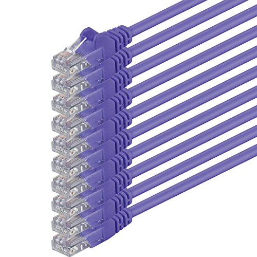 2m - violett - 10 Stück - (PACK) - CAT.6 CAT6 Ethernet-Lan-Netzwerk-Kabel 1000Mbits Patchkabel CAT 6 kompatibel zu CAT.5 CAT.6a CAT.7Internet DSL Smart TV Wii Xbox Spielkonsole Mediaplayer Switch Router Modem Patchpannel Access Point Patchfeld