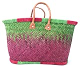 FISH IN THE SEA Designer Korbtasche Strandtasche Apple/Red ★ Medium ★ Ibiza Handtasche Damen Lederhenkel