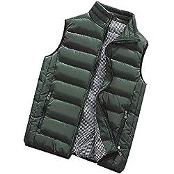 Roiper Homme Gilet Veste sans Manche Tops Doudoune Parka Manteau Zippée Hiver Chaud Blouson Outwear