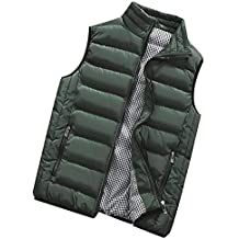 Chaleco de Pluma para Hombre Ligero Sin Mangas Chaquetas con Cremallera Acolchado de Pluma Calentar Invierno