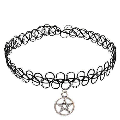 Jane Stone Damen Halskette Henna Tattoo mit Anhänger schwarz Choker Ketten aus Kunststoff und Metalllegierung - 4