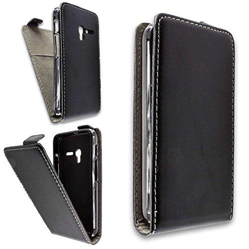 caseroxx Hülle/Tasche Flip Cover passend für Alcatel One Touch Pixi 3 4013D 4 Zoll, Schutzhülle (Handytasche klappbar in schwarz)