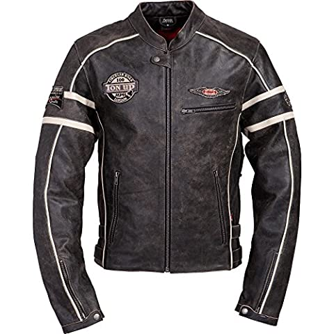 Motorradjacke Spirit Motors Retro-Style Lederjacke 1.0 schwarz/beige XL