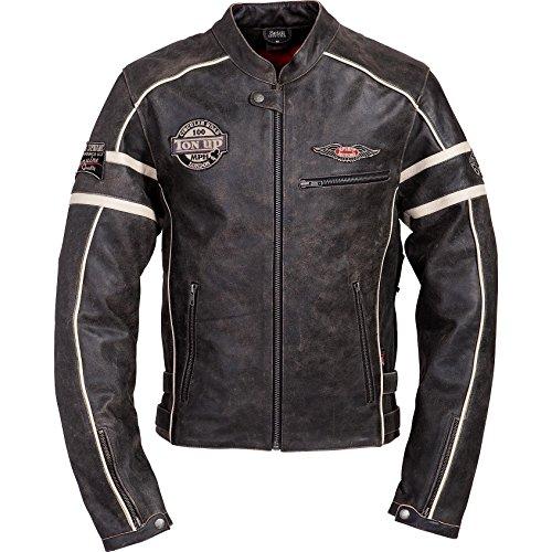 Motorradjacke Spirit Motors Retro-Style Lederjacke 1.0 schwarz/beige XXL
