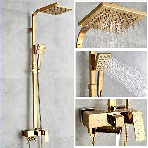 Makeyong Badewannenarmaturen Gold Messing Bad Wasserhahn Mischbatterie Wandmontage Handbrause Kit Duscharmatur Sets