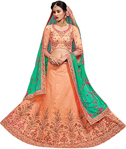 Indian Ethnicwear Bollywood Pakistani Wedding Peach Coloured Lehenga Un-stitched