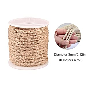 Leegoal Tenn Well Natural Jute Twine, 32.8Feet 3mm Arts and Crafts Jute Rope Industrial Heavy Duty Packing String For Gifts, DIY Crafts, Festive Decoration, Bundling and Gardening