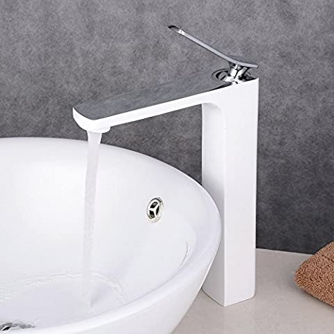 Beelee Single Handle Single Hole Tall Bathroom Vanity Sink Faucet Basin Mixer Tap, Polished Chrome Finish / White Painting
