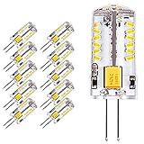 Yuecute 10 x G4 LED Leuchtmittel 2,3 W 57 SMD 3014 Energiesparlampe 12 V AC DC entspricht 20 W Halogenlampe Helligkeit geeignet für Wohnzimmer, Schlafzimmer, Büro Beleuchtung, warmweiß, G4, 2.30W 12.00V