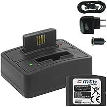 2x Baterías + Cargador doble (USB/Coche/Corriente) BA-300 para Sennheiser RI 410 (IS 410), RI 830 (Set 830 TV), RI 830-S, RI 840 (Set 840 TV), RI 900, RR 4200... - v. lista