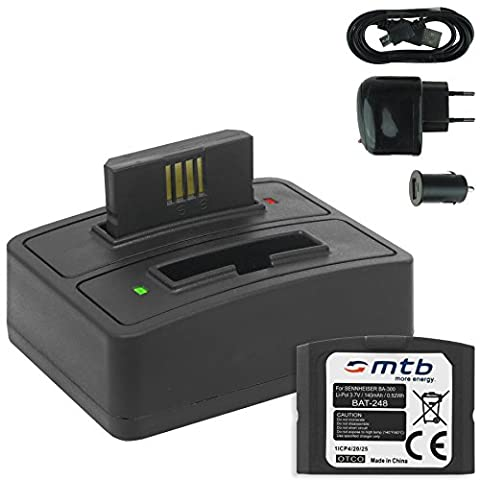 2x Akku + Dual-Ladegerät (Netz+Kfz+USB) BA-300 für Sennheiser RI 410 (IS 410), RI 830 (Set 830 TV), RI 830-S, RI 840 (Set 840 TV), RI 900, RR 4200... - s. (Sennheiser Ri 410)