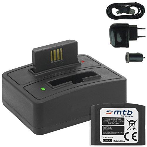 2x Batterie + Caricabatteria doppio (USB/Auto/Corrente) BA-300 per Sennheiser RI 410 (IS 410), RI 830 (Set 830 TV), RI 830-S, RI 840 (Set 840 TV), RI 900, RR 4200... - v. lista