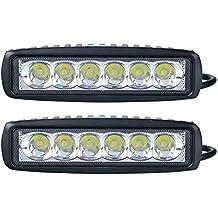 Faros LED auxiliares para todoterreno (90 grados), 2 unidades, 18 W, 12 / 24 V, IP67, color negro, accesorio reflector para todoterreno y SUV