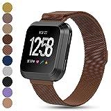 Fitbit Versa Smartwatch Ersatzarmbänder, Feskio Magnetverschluss Milanese Loop Edelstahlarmband Handgelenkband Uhrenarmband für Fitbit Unisex Versa Gesundheit und Fitness Smartwatch