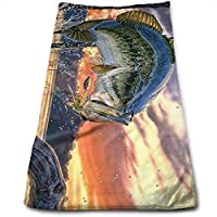 ewtretr Toallas De Mano,Fishing Bass Mouth Microfiber Beach Towel Large & Oversized - 11.8