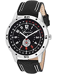 Rich Club RC-88BLK Steel Bezel With Leather Strap Analog Watch For Men And Boys