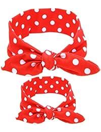 OULII Los bebés Headwraps impreso madre y niño trajes de conejo conejo oído diadema bebé Set turbante cabello accesorios foto apoyos favores (rejilla roja brillante)