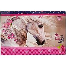 Schreibtischunterlage Pferd lila - 60 cm * 40 cm - PVC Unterlage / Knetunterlage / Schreibunterlage / Tischunterlage - Pferde Pferdemotiv Ranke für Mädchen Damen - Schimmel