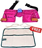 """Kosma 11 Pockets Leather Carpenter Tool Apron in Pink 