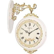 EDSH reloj de pared Estilo europeo doble cara relojes de pared sala de estar moderna sencilla relojes grandes en ambos lados de la tabla reloj de moda reloj mudo ( Color : Blanco )