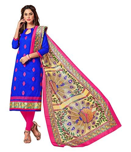 Priyavadhu Women's Slub Cotton straight Unstitched Salwar kameez Dress material (BLBSTR1002_Royal Blue_Free...