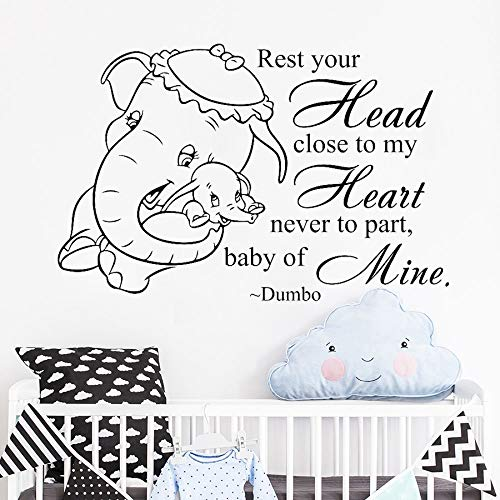guijiumai Dumbo Zitat Wandtattoo Elefant Vinyl Aufkleber Tapete Für Kinderzimmer Baby Kindergarten Kunst Aufkleber Wandbild Schlafzimmer Wohnkultur Rosa 57x38 cm (Simpson Halloween Los 13)