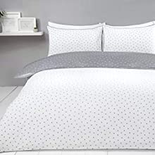 Sleepdown Mini Polka Dots Reversible Super King Duvet Cover Set. Easy Care And Super Soft Cotton Design. White And Grey Dotted Pattern quilt. Size 220x260 cm + 2 matching pillowcase.