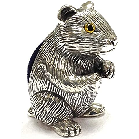 Collezione stile vittoriano Guinea Pig Pin Cuscino in argento Sterling 925Hallmarked