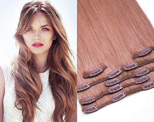Clip In Extensions Set 100% Echthaar 7 teilig 70g Haarverlängerung 55cm Clip-In Hair Extension in der Farbe #27 Honigblond