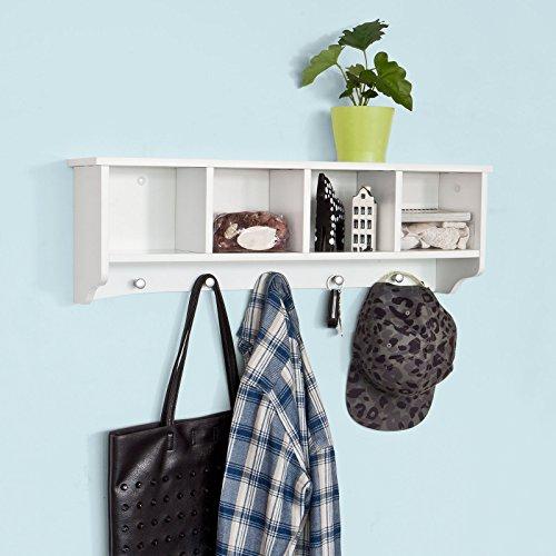 SoBuy® Wandgarderobe Wandhaken Hängeregal Badezimmerschrank mit 5 Haken weiß, B 72cm, FRG48-L-W