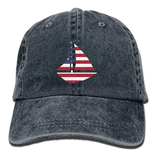 UNDAKX Funny Hat Baseball Cap Distressed Stars Stripes Sailboat Sailing Adventure Vintage Washed Dyed Cotton Twill Low Profile Adjustable Baseball Cap Black Wide Stripe Beanie